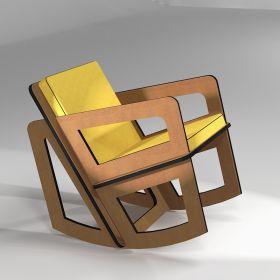 Petit rocking-chair sur-mesure pour petite taille, coussins jaune