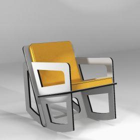 Rocking chair sur-mesure pour petite taille en Valchromat gris clair