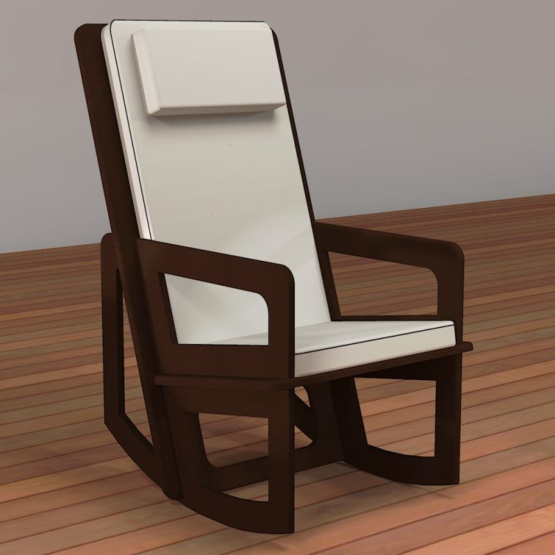 Spacio rocking chair with high backrest for indoor or covered terrace