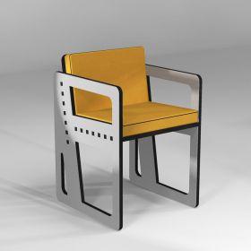 """Chaise """"Pointillé"""" sur-mesure en gris clair avec coussin grand confort jaune"""