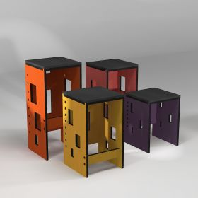 "Tabouret ""Pointillés"" en rouge, jaune, orange et violet"
