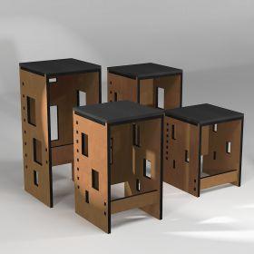 "Custom-made ""Pointillés"" stool for dining table, central island, bar or reception bench"