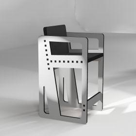 Tabouret pointillé avec accoudoirs, en gris clair hauteur sur-mesure