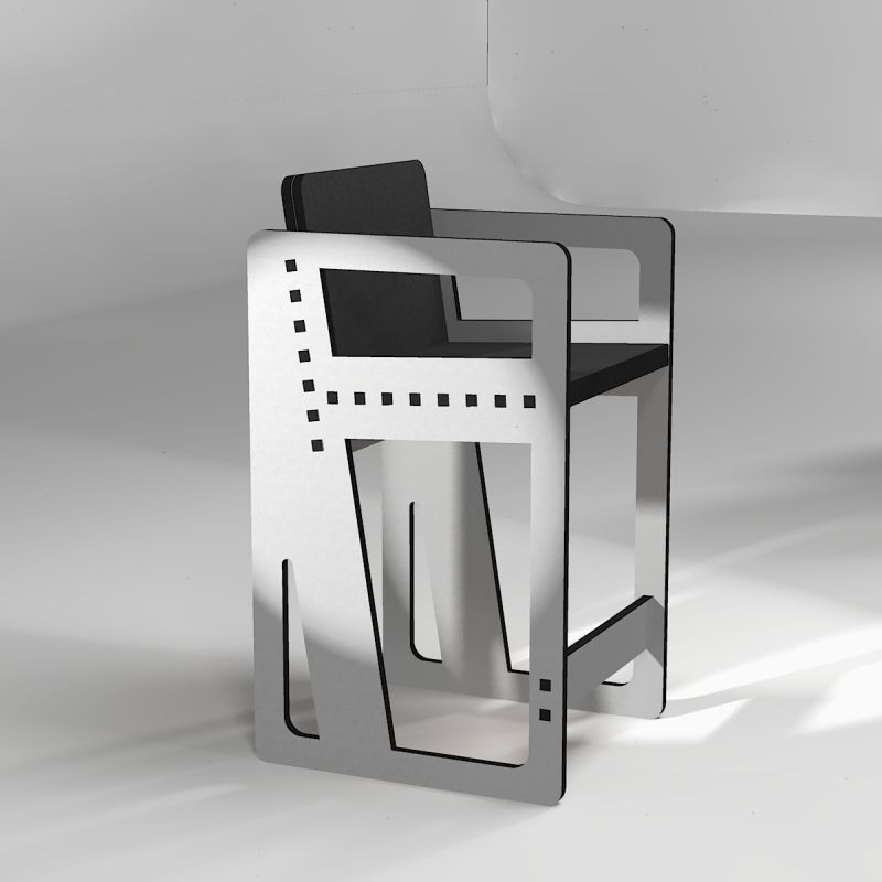 """High stool """"Pointillé"""", in light grey,;made to measure"""