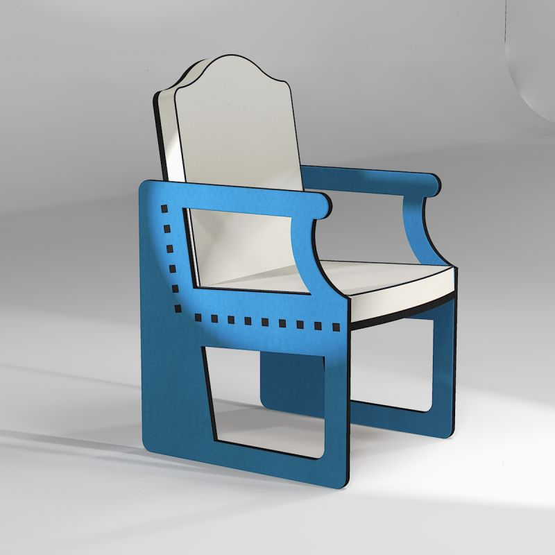 Neo-classical armchair in Valchromat blue