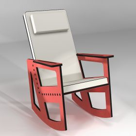 Red rocking chair with high back, custom-made in France