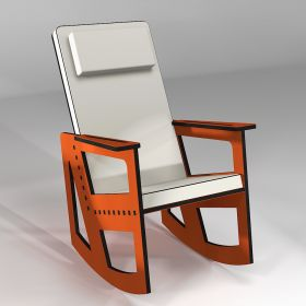 Orange rocking chair with high back, custom-made in France