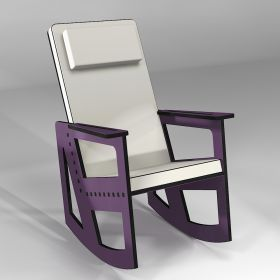 Purple rocking chair with high back, custom-made in France
