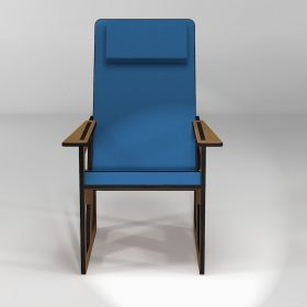 Armchair with headrest for stature under 165 cm, blue cushions