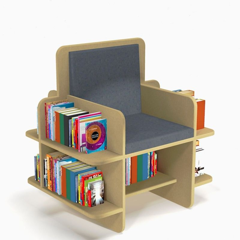 Library armchair to store up to 300 books