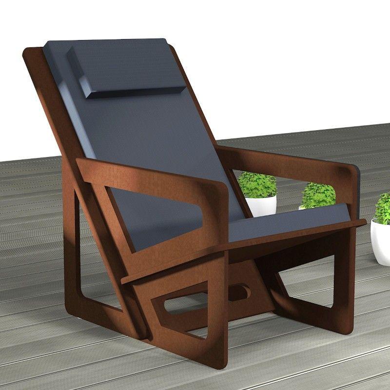 Fauteuil de jardin avec dossier haut et appui-tête. Assise inclinée à 22°.