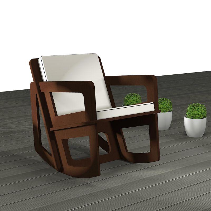 Rocking chair de jardin Spacio sur-mesure avec coussin gris clair