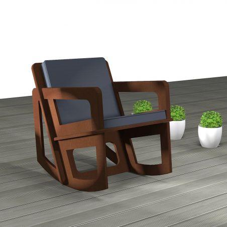 Rocking chair de jardin Spacio fabriqué en fonction de vos mensuration, structure en valchromat ignifugé, coussin noir