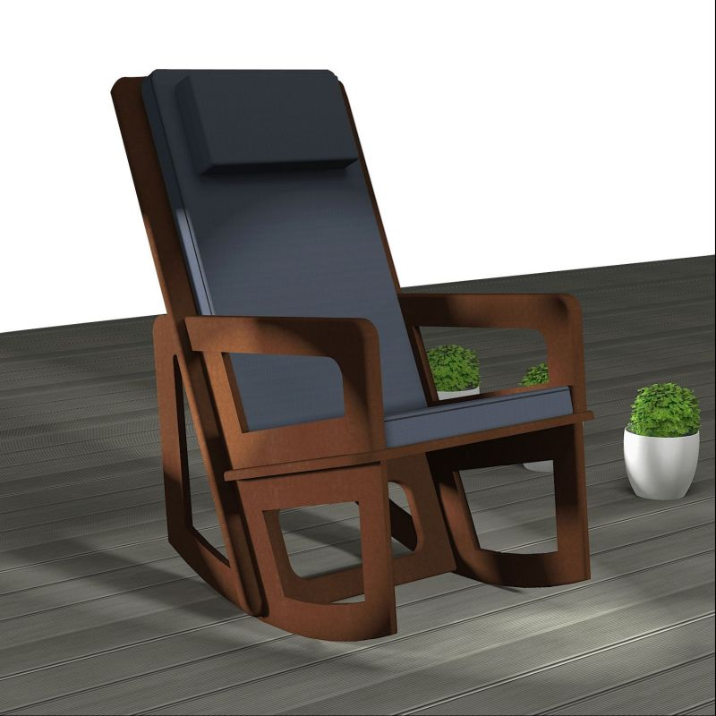 Rocking chair with headrest for indoor or covered terrace.