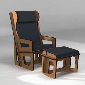 Tilting legrest as an option for a custom made armchair
