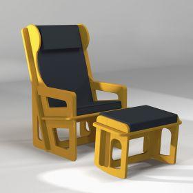 Repose-jambes à bascule sur mesure, coloris assortis aux fauteuils