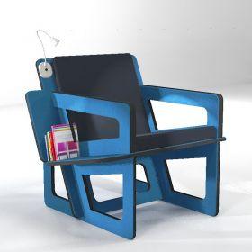 Fauteuil de lecture bleu, un confort taillé sur-mesure. Liseuse à led en option.