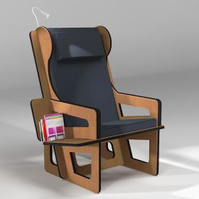 Wingback chair brown, tailor made