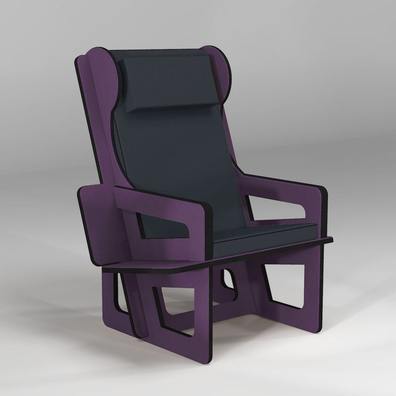 Wingback chair purple, tailor made