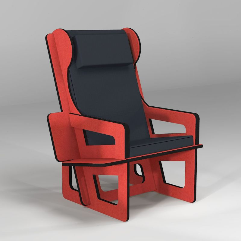 Wingback senior chair red, tailor made