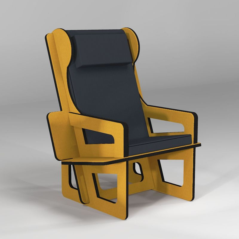 Wingback chair color yellow, tailor made for any adult size