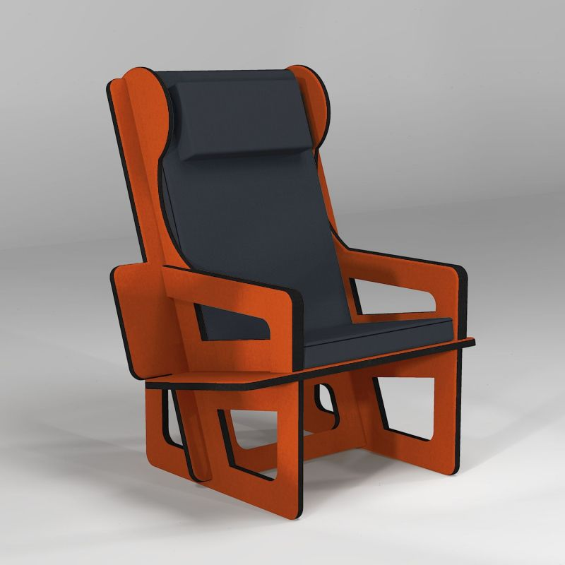 Wingback chair orange, tailor made
