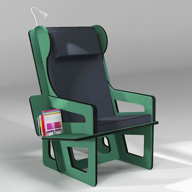 Wingback chair color green, tailor made for any adult size