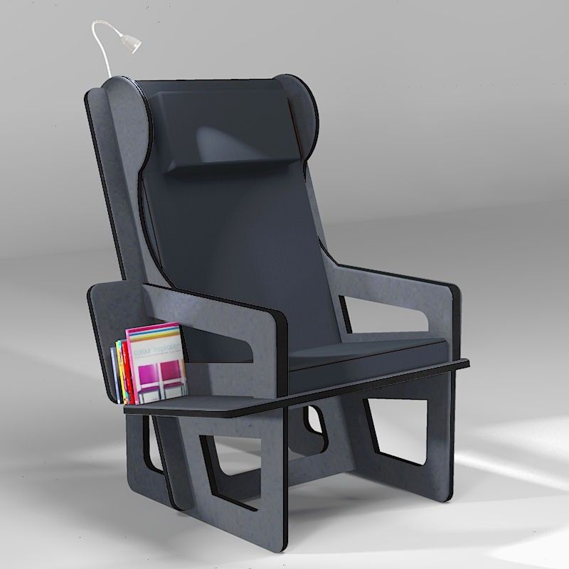 Wingback chair anthracite, tailor made
