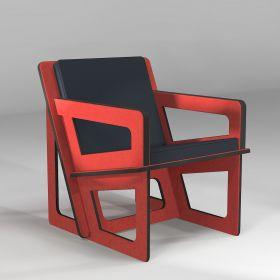 The orange armchair,...
