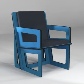 Tailor-made blue activity armchair, to eat, play or stand up easily...