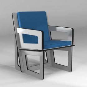 Fauteuil d'activité fabriqué sur mesure, coloris gris clair, coussin bleu