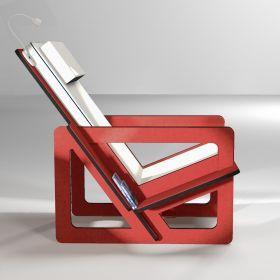 Fauteuil de lecture rouge, taillé sur-mesure, dossier haut avec appui-tête gris clair