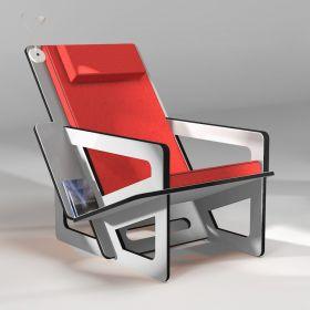 Fauteuil de lecture gris clair, taillé sur-mesure, dossier haut avec appui-tête, coussin rouge