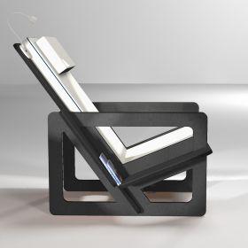 Fauteuil de lecture gris foncé, taillé sur-mesure, dossier haut avec appui-tête, coussins gris clair