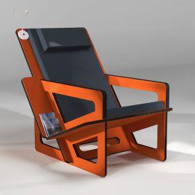Fauteuil de lecture orange, taillé sur-mesure, dossier haut avec appui-tête, coussin noir