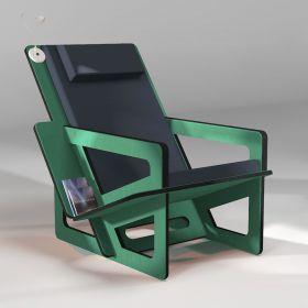 Fauteuil de lecture vert, taillé sur-mesure, dossier haut avec appui-tête