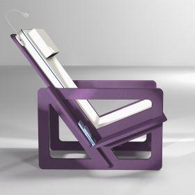 Fauteuil de lecture violet, taillé sur-mesure, dossier haut avec appui-tête, coussin gris clair