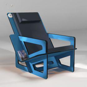 Fauteuil de lecture bleu, taillé sur-mesure, dossier haut avec appui-tête