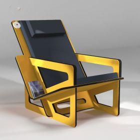 Fauteuil de lecture jaune, taillé sur-mesure, dossier haut avec appui-tête, coussin noir
