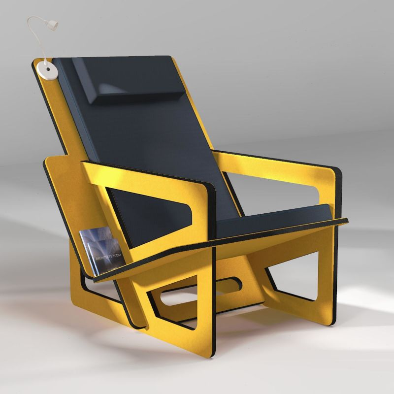 Yellow  bookshelf chair with headrest, tailor-made for small, medium or tall people