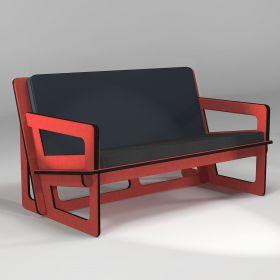 Canapé rouge, fabrication sur-mesure