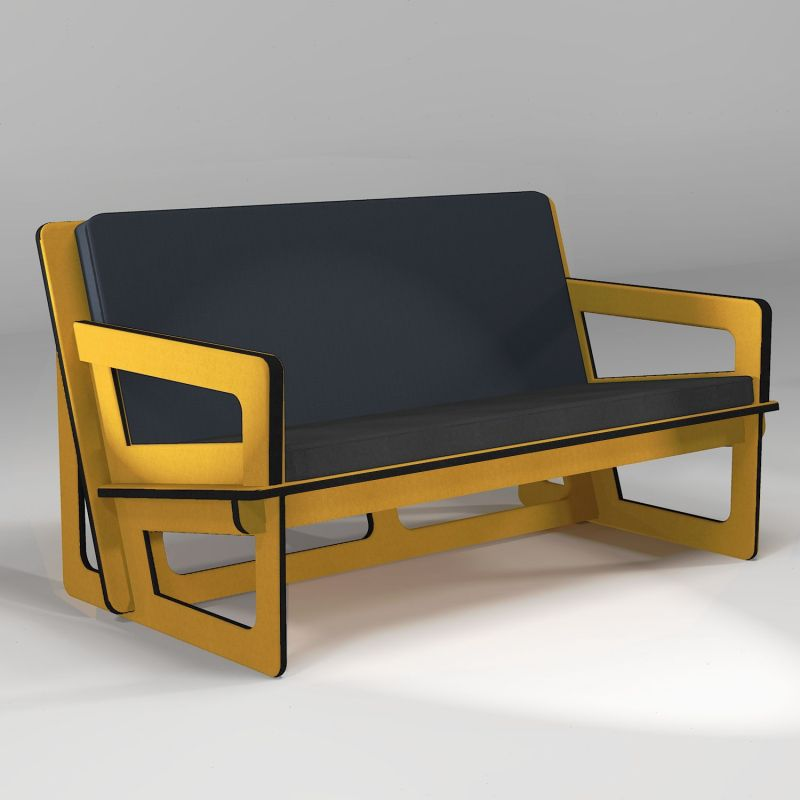 Canapé jaune, fabrication sur-mesure
