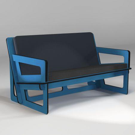 Canapé bleu, fabrication sur-mesure