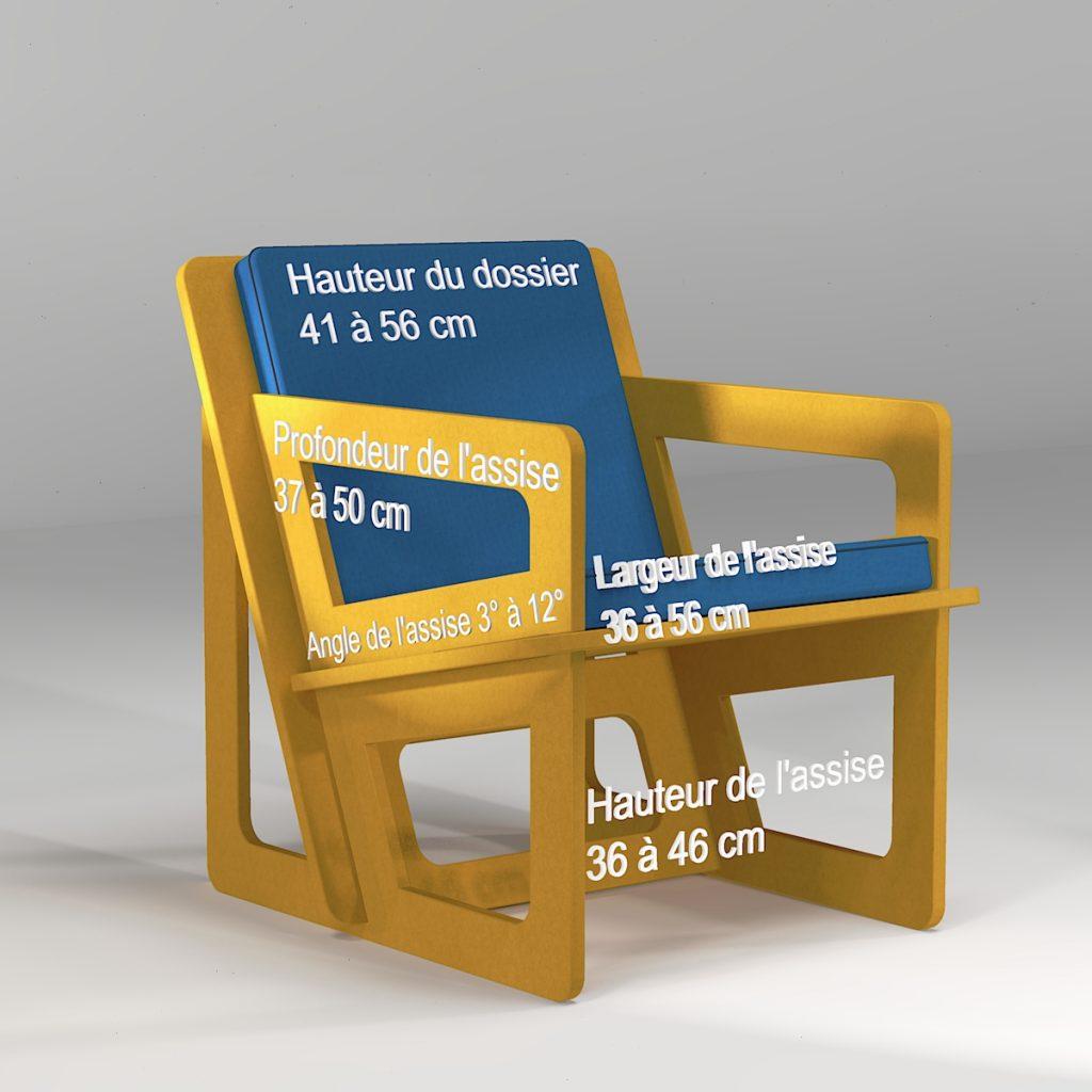 Petite fauteuil pour taille XXS, XS ou S