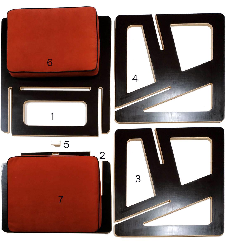 Composant d'un fauteuil sur mesure, accoudoirs, dossier, assise, coussin