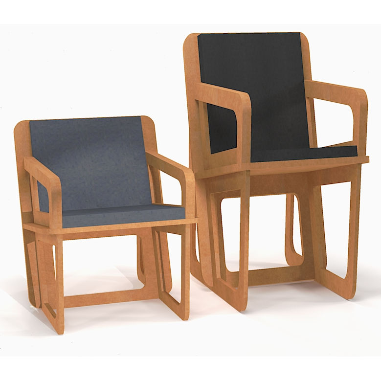 Two picture of the same tailor made armchair, one designed for a small lady and on for a tall man